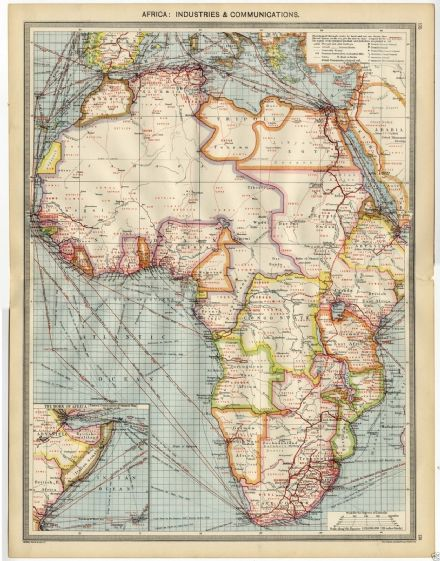 1905 MAP AFRICA Industries COMMUNICATIONS Rubber IVORY Diamonds GUM Gold ESPARTO